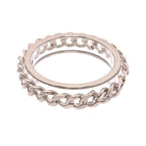 Chanel Silver Chain Clear Lucite Bangle Bracelet